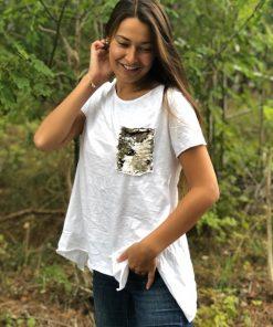 vit t-shirt med glitterficka