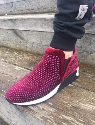 vinröd bling sko