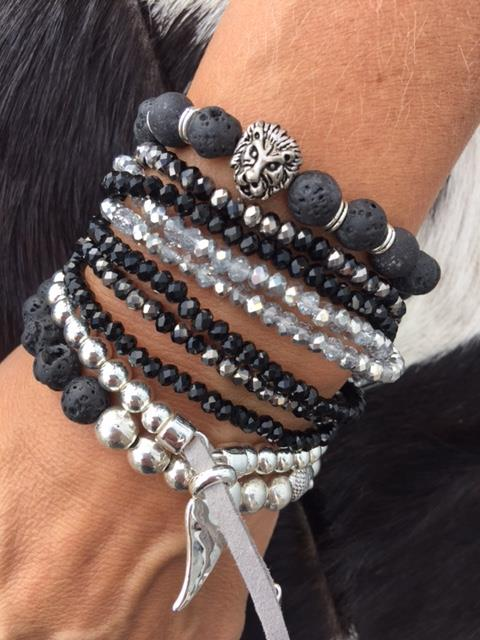svart/silver armband