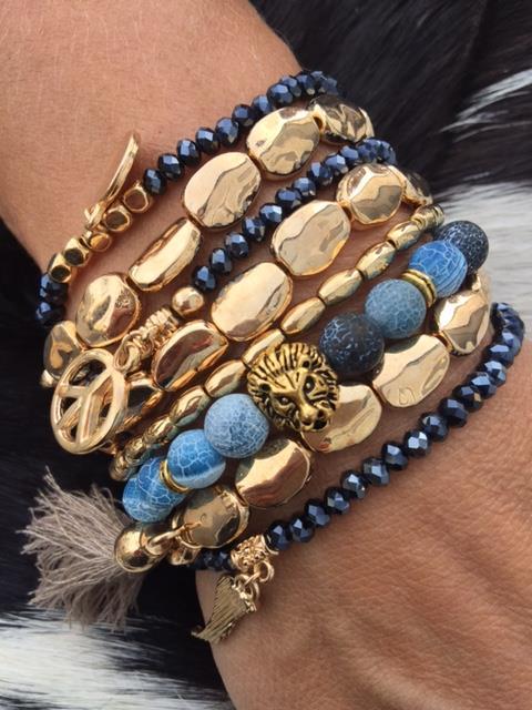 indå blå guld armband