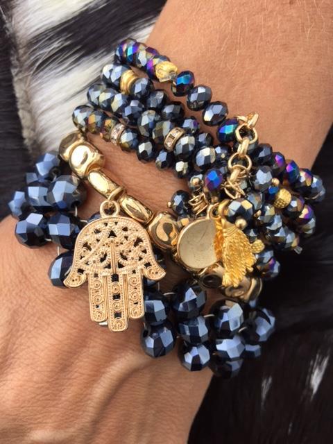 indra stor blå/guld armband