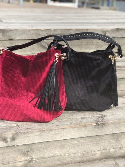 väska vinröd och svart