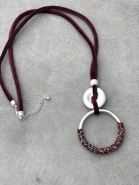 halsband silver vinröd