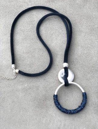 halsband silver marinblå