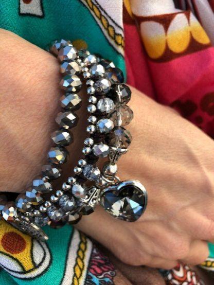 armbands set silver och svart