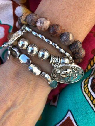 armbands set trä och silver