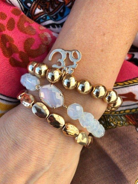 armbands set vit och guld