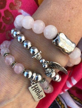 armbands set rosa och silver