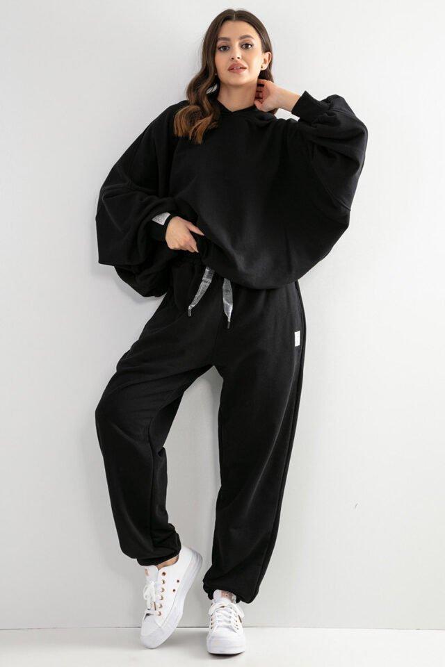 tracksuit outfit med stor hoodie för damer