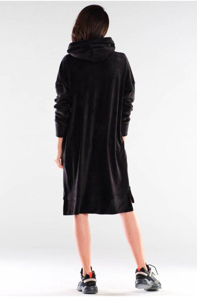 Svart lång hoodie/klänning