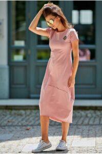 Lång oversize klänning rosa