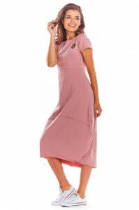 Lång hoodie oversize klänning rosa