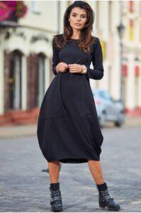 Lång hoodie oversize klänning svart