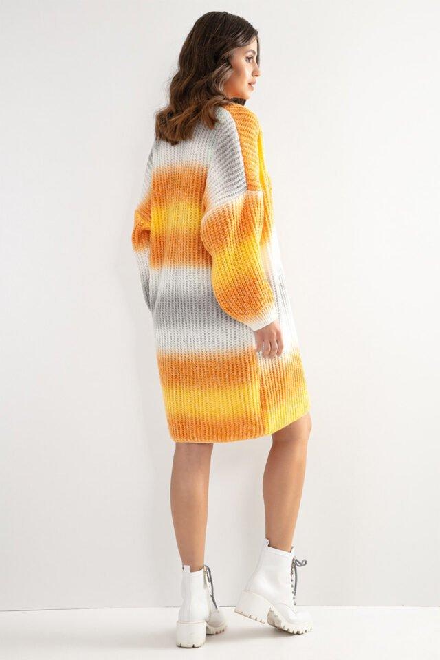 Färgglad orange cardigan/klänning