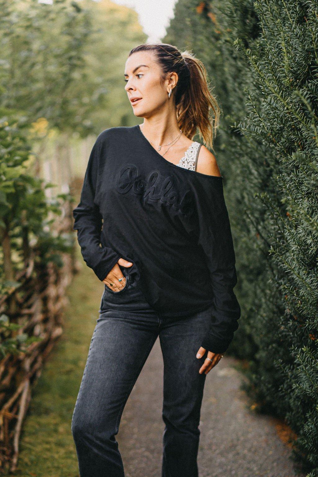 Oversize långärmad t-shirt svart