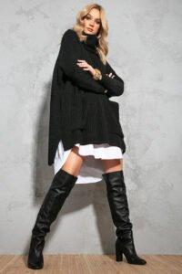 Oversize polo sweater svart