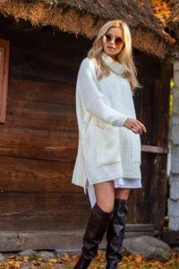 Oversize polo sweater vit boho