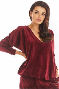 Claret röd sammet tröja dam