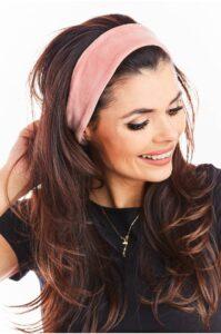 Rosa hårband velour