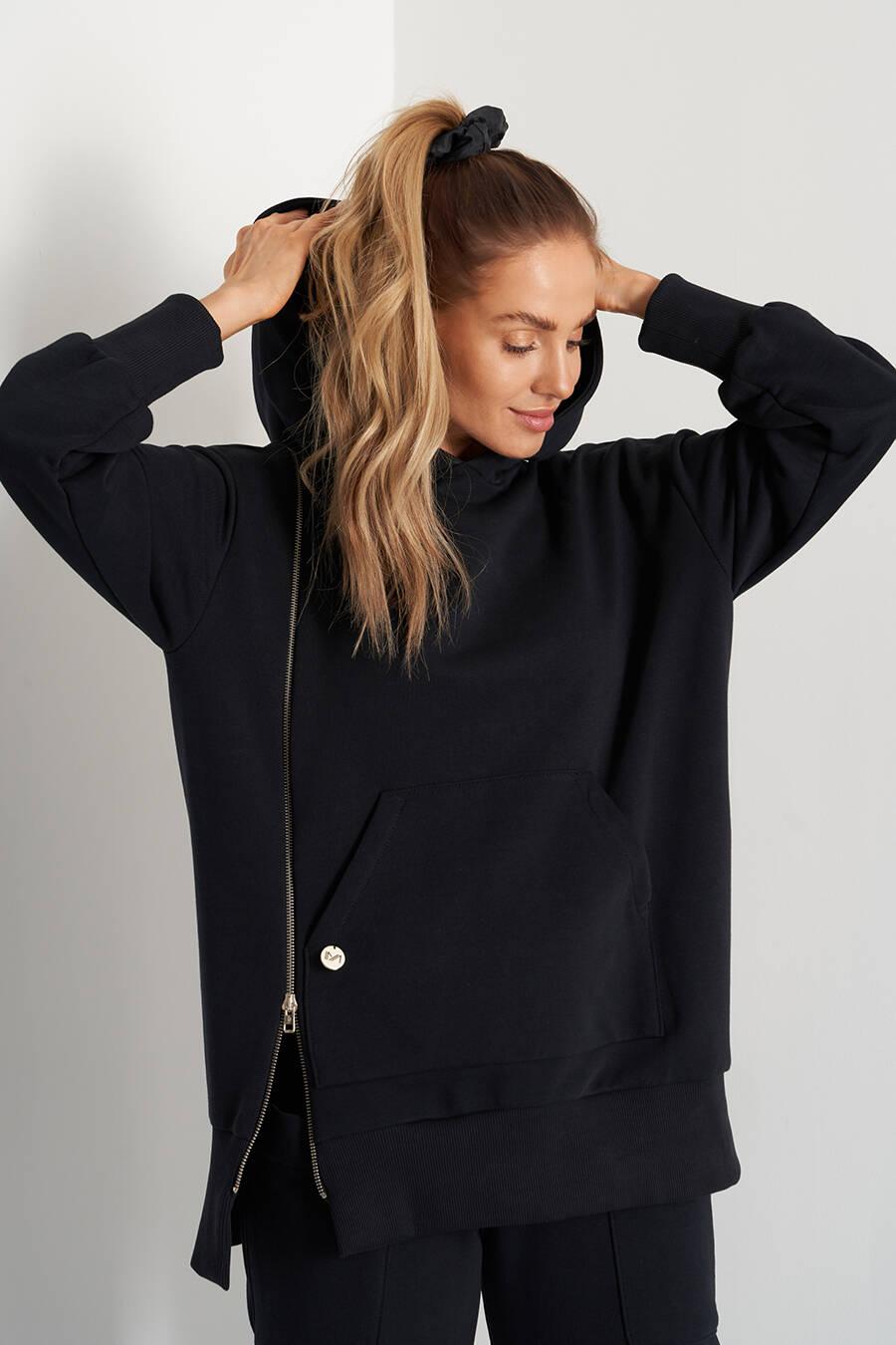 hoodie med dragkedja på sidan