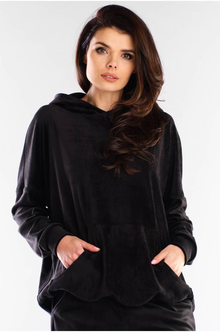 Svart hoodie i sammet för damer